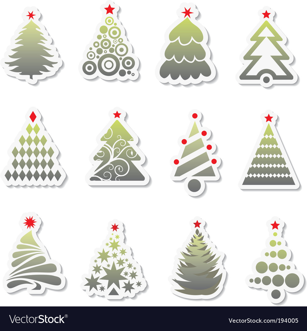 Set of new year tree vector | Price: 1 Credit (USD $1)
