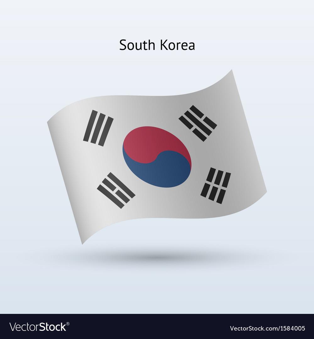 South korea flag waving form vector   Price: 1 Credit (USD $1)
