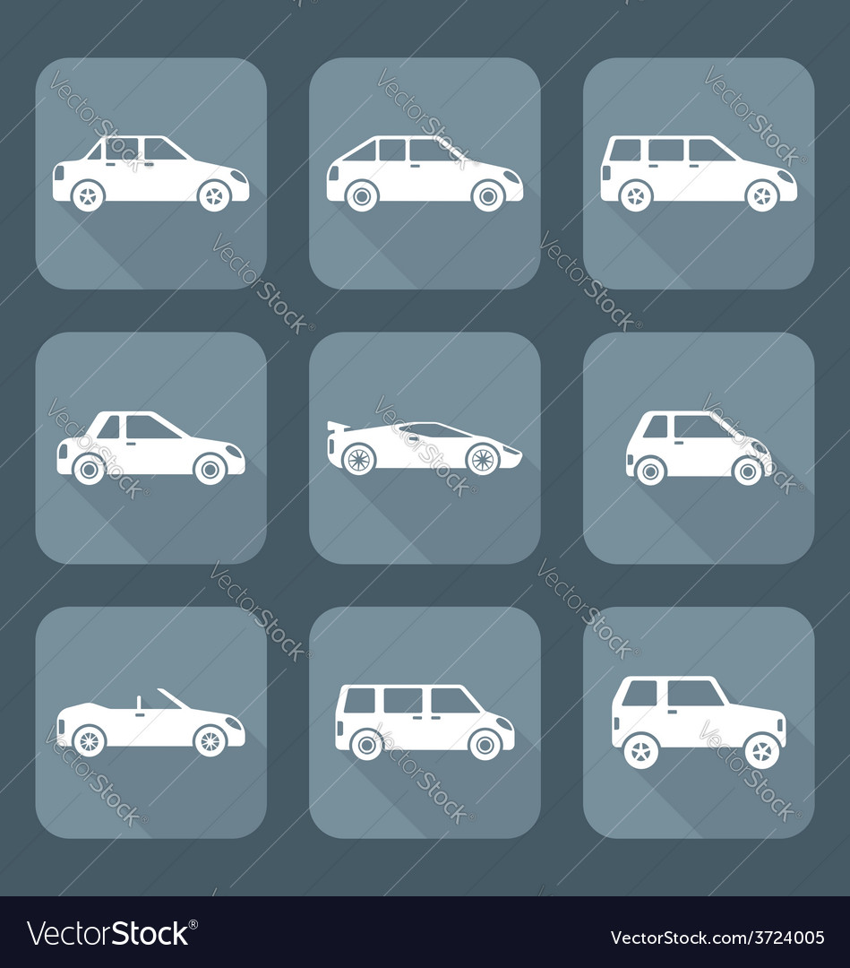 White flat style various body types of cars icons vector   Price: 1 Credit (USD $1)