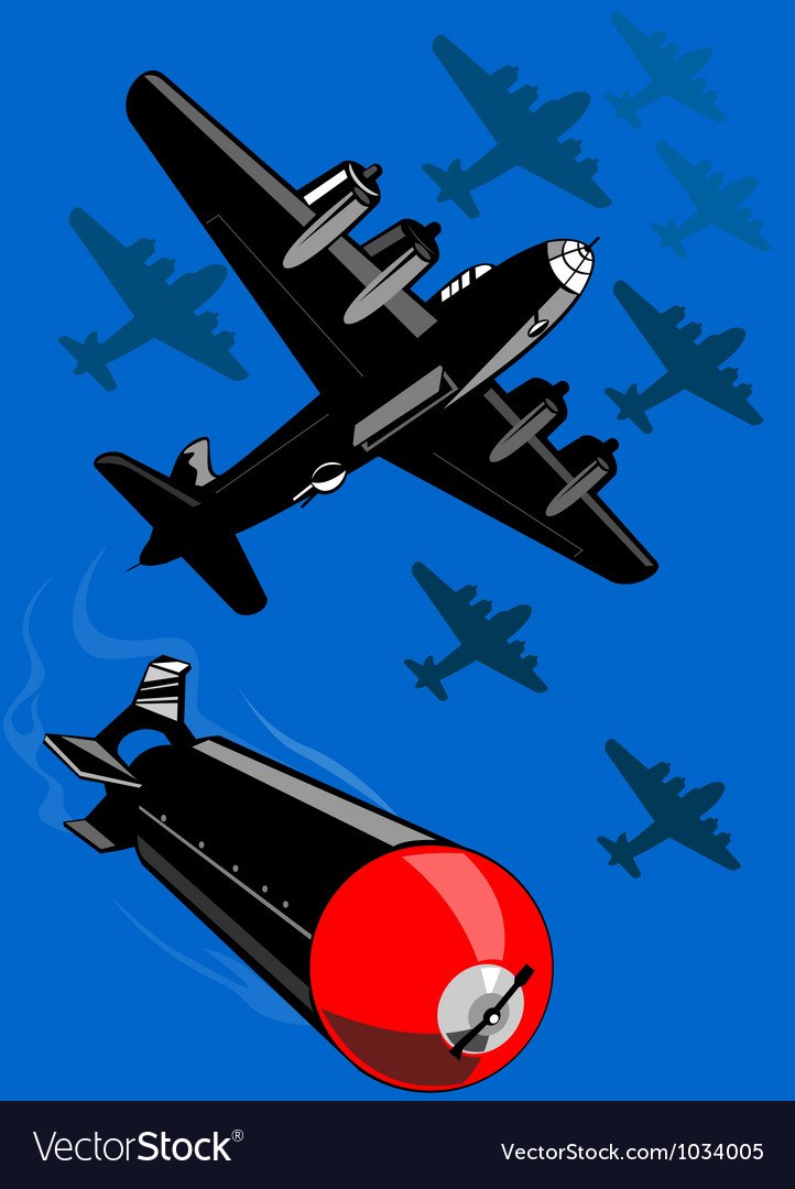 World war two bomber airplanes drop bomb retro vector | Price: 1 Credit (USD $1)