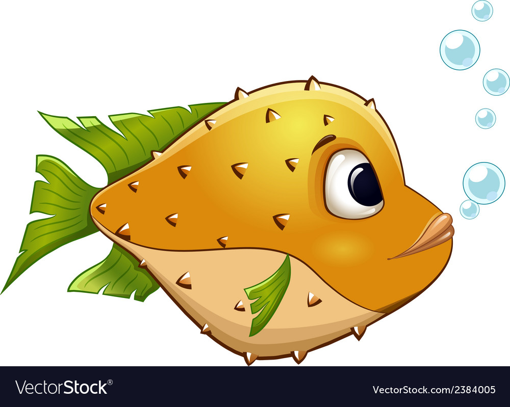 Yellow fish on isolated background vector | Price: 1 Credit (USD $1)