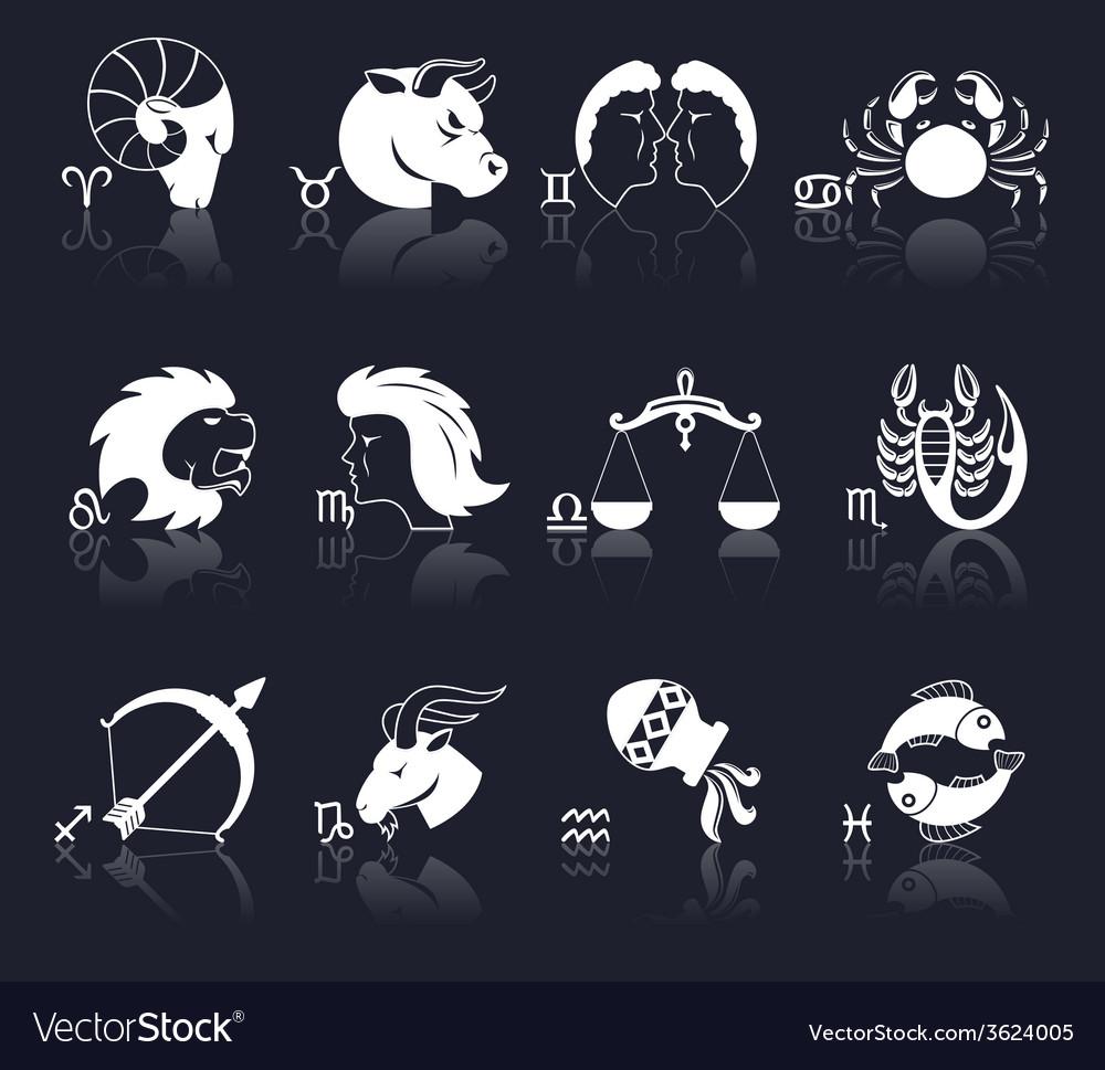 Zodiac icons white vector | Price: 1 Credit (USD $1)