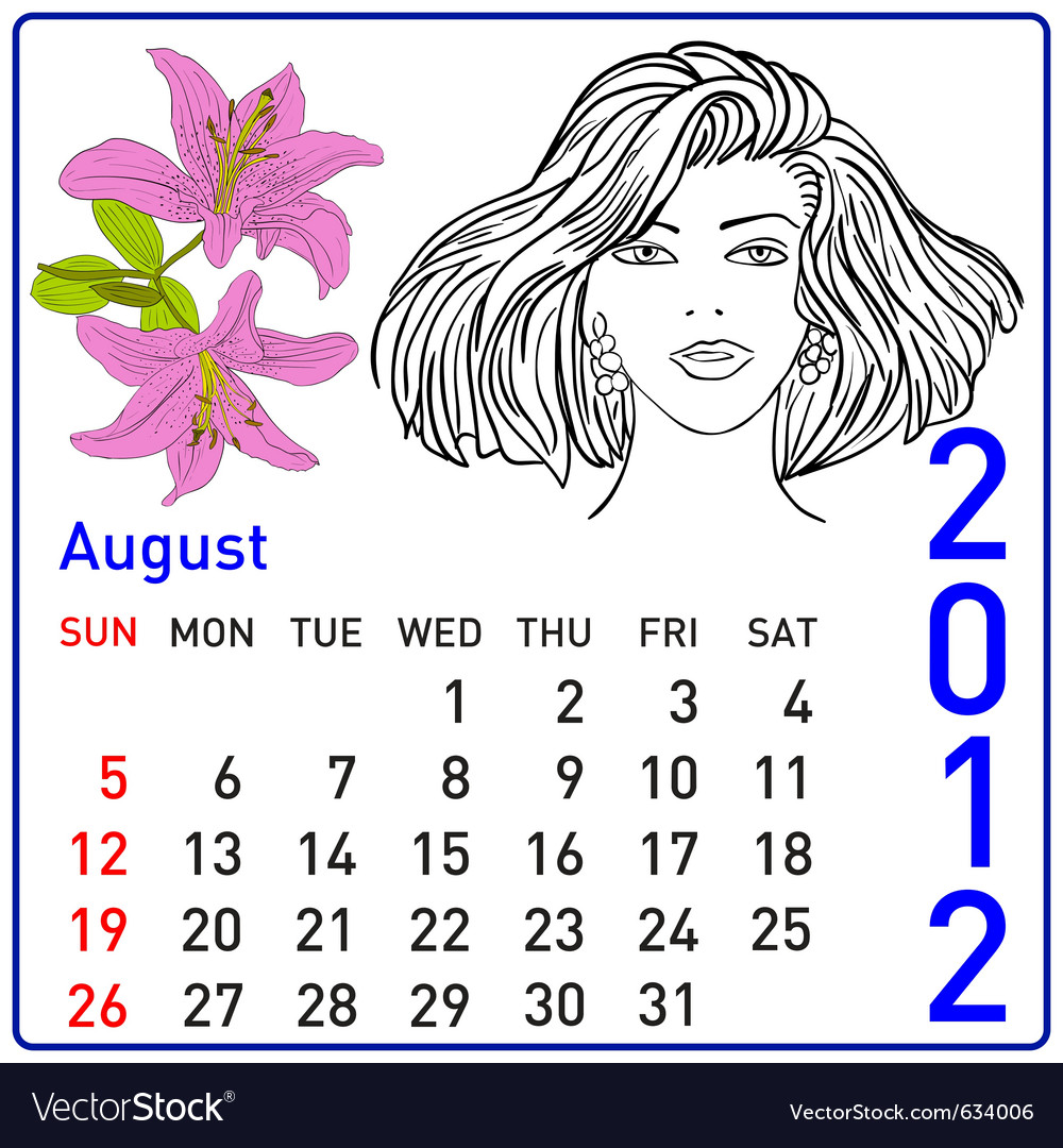 2012 year calendar in august vector | Price: 1 Credit (USD $1)