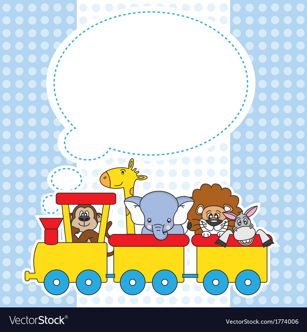 Children train with animals vector | Price: 1 Credit (USD $1)