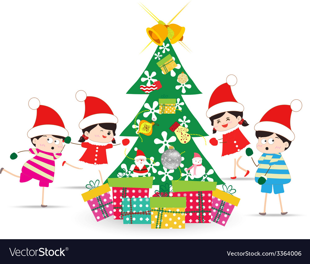 Happy kids decorating a christmas tree with vector | Price: 1 Credit (USD $1)