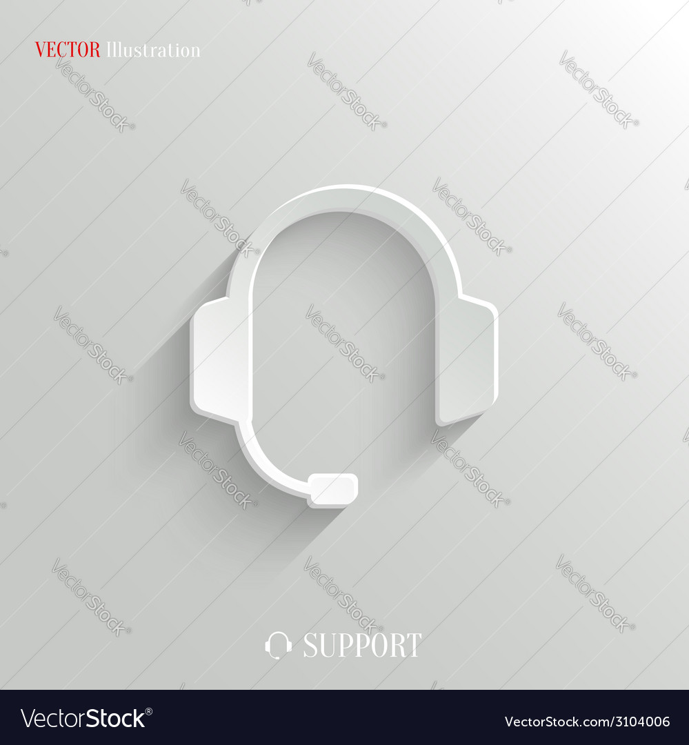 Headphones with microphone icon - white app button vector | Price: 1 Credit (USD $1)