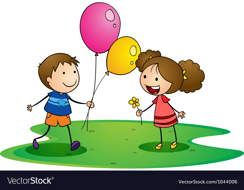 Kids with balloons vector | Price: 3 Credit (USD $3)