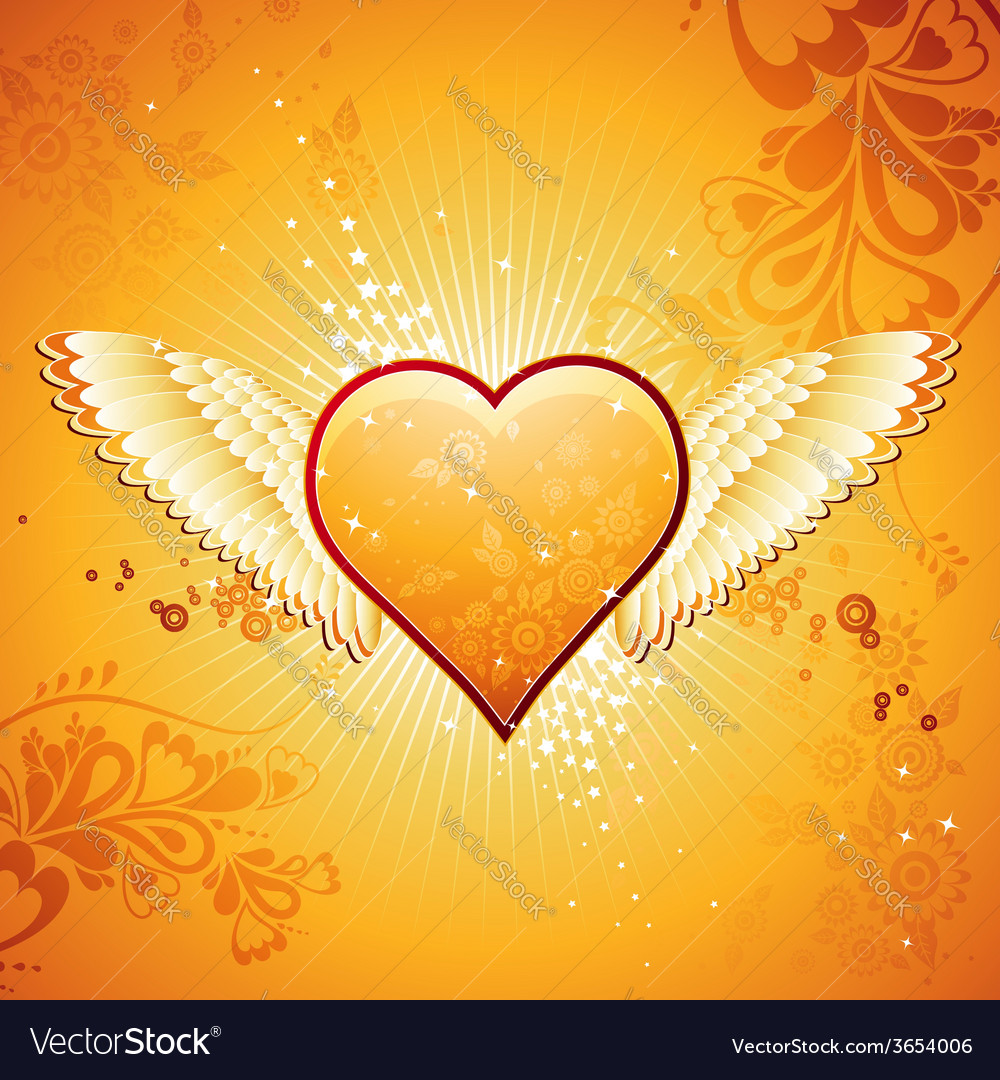 Lovely golden heart on golden background with wing vector | Price: 1 Credit (USD $1)