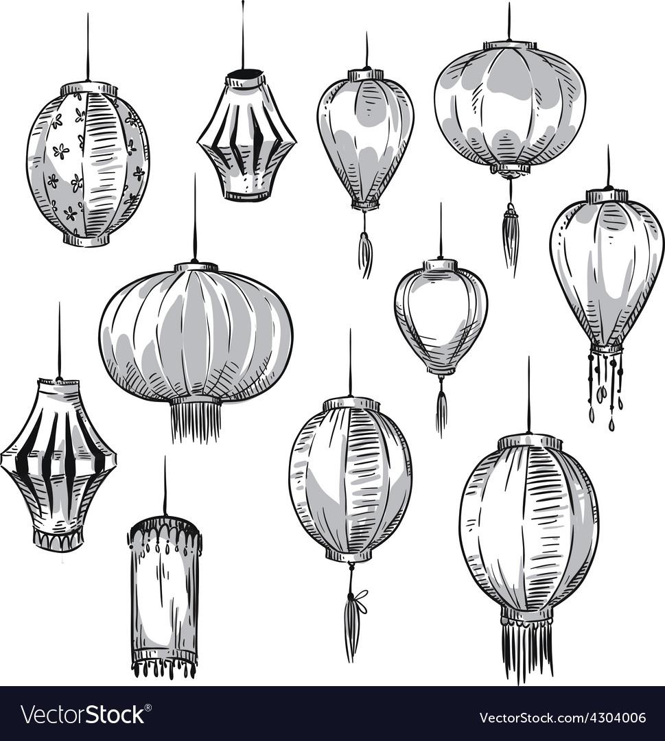 Set of chinese lanterns vector | Price: 1 Credit (USD $1)