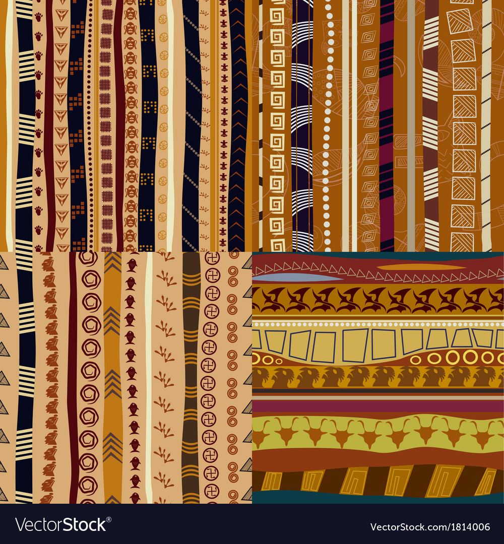 Set of color patterns primitive tribal pattern vector | Price: 1 Credit (USD $1)