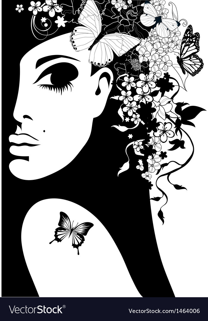 Silhouette of a woman with flowers and butterflies vector | Price: 1 Credit (USD $1)