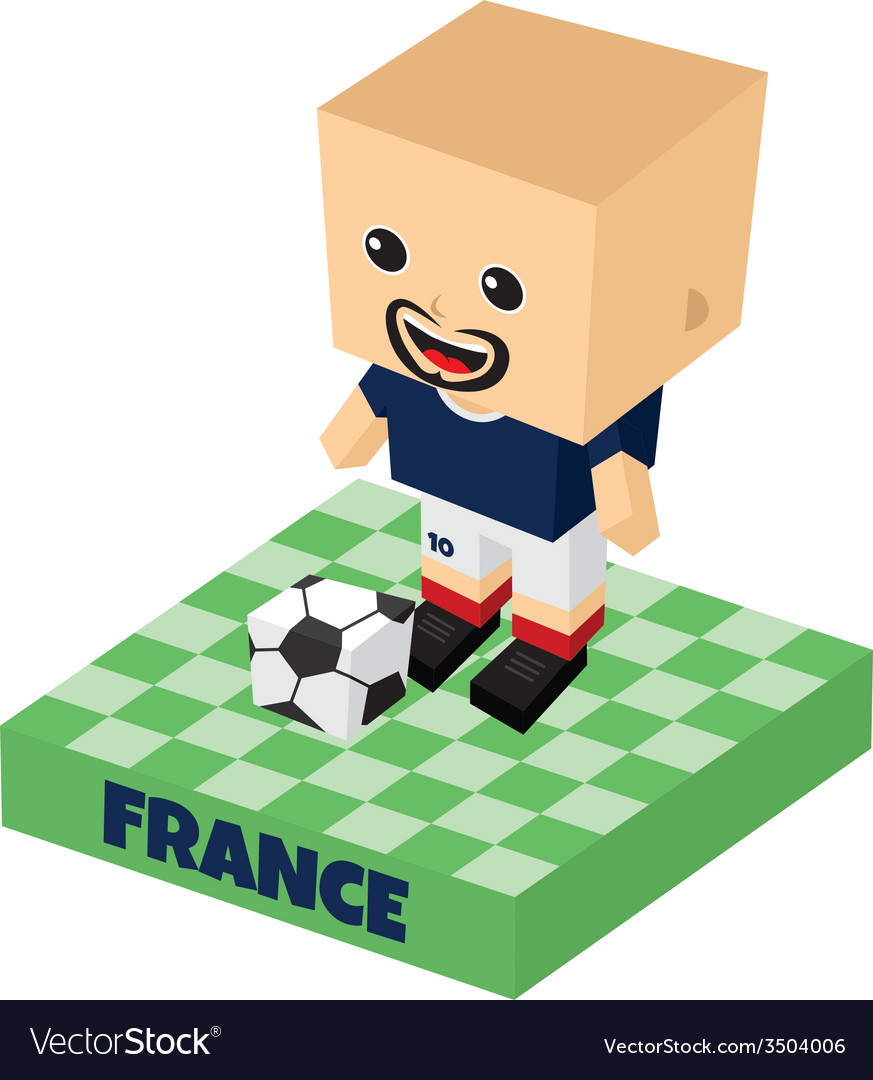 Soccer block isometric cartoon character vector | Price: 1 Credit (USD $1)