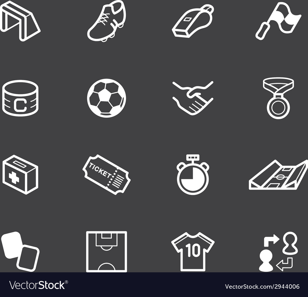 Soccer element white icon set on black background vector | Price: 1 Credit (USD $1)