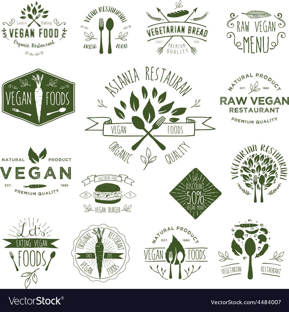 15 vegetarian foods badges vector | Price: 1 Credit (USD $1)