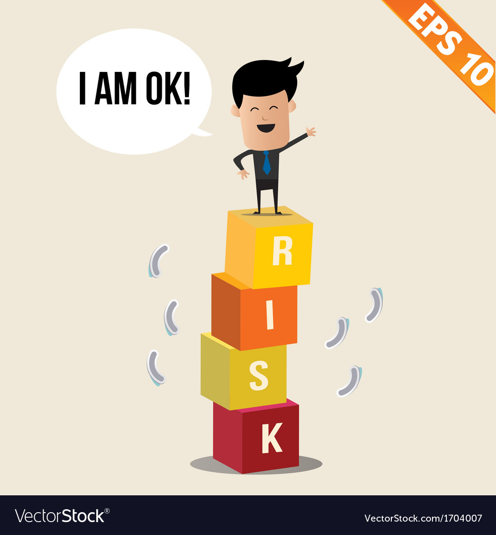 Cartoon businessman stand on risk block - - vector   Price: 1 Credit (USD $1)