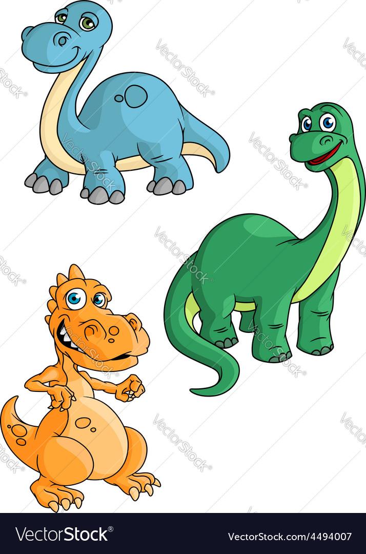 Cute cartoon green blue and orange dinosaur vector   Price: 1 Credit (USD $1)