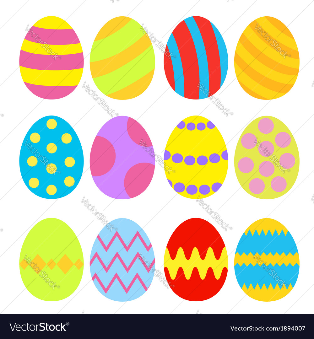 Easter eggs colorful set isolated vector | Price: 1 Credit (USD $1)