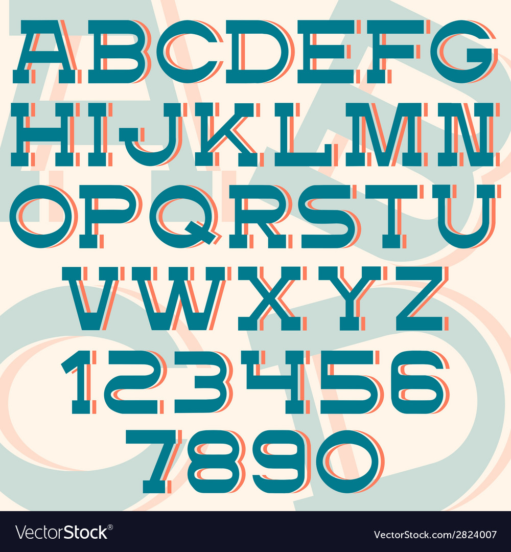 Font and numbers retro style vector | Price: 1 Credit (USD $1)