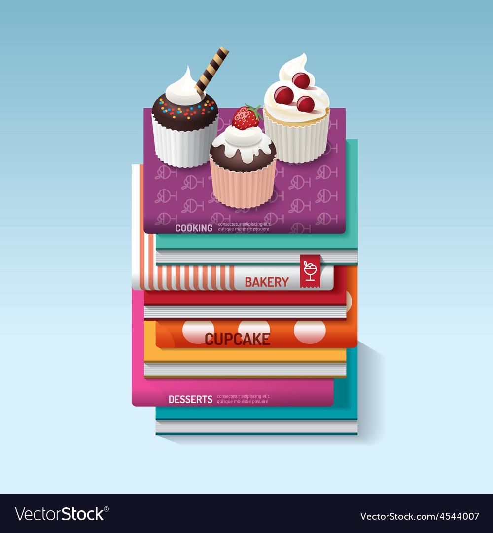 Food cook books idea cupcake concept design vector | Price: 3 Credit (USD $3)