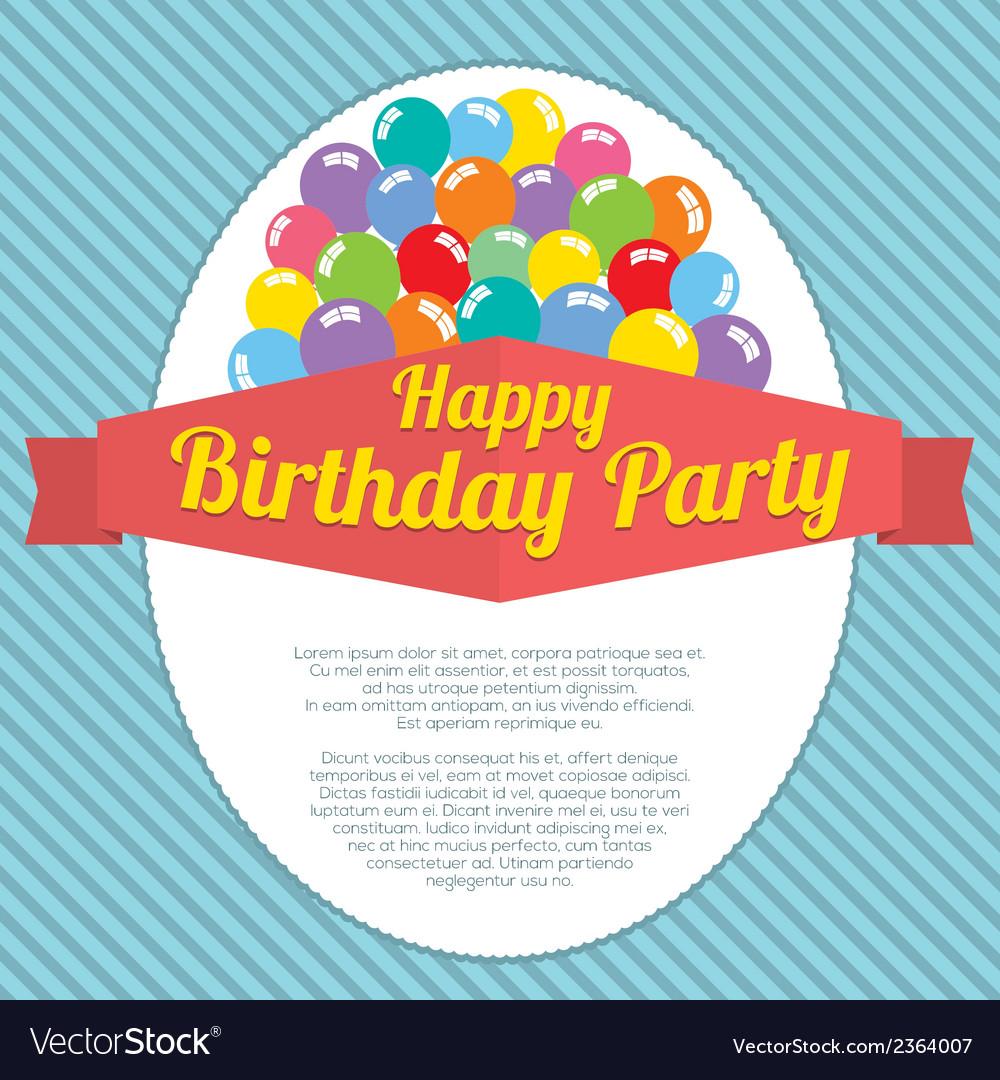 Happy birthday party card vector | Price: 1 Credit (USD $1)