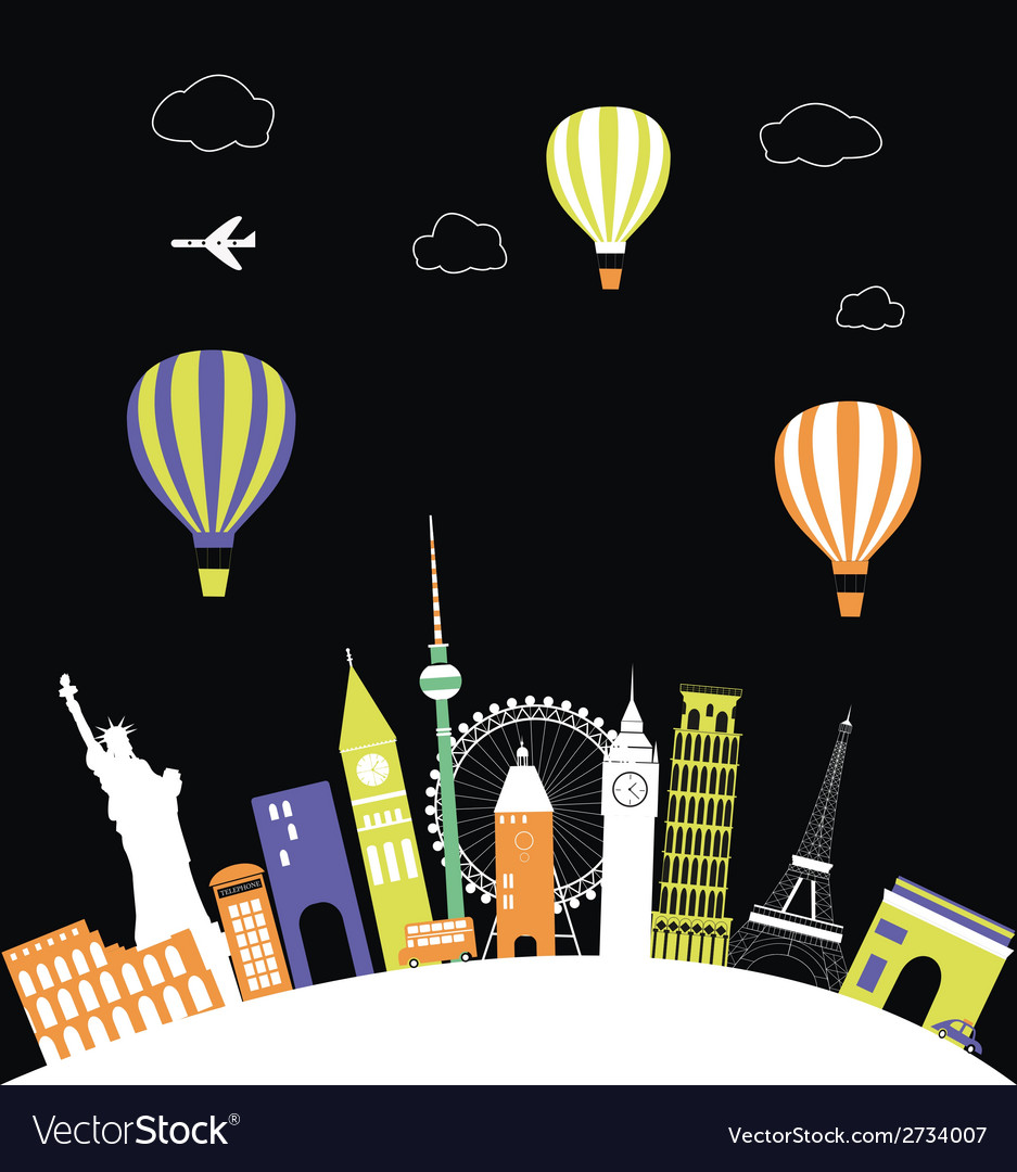 Hot air balloons over the world vector | Price: 1 Credit (USD $1)