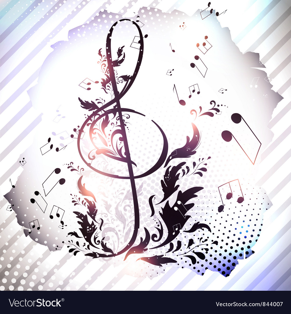 Retro magnetic tape with treble clef vector | Price: 1 Credit (USD $1)