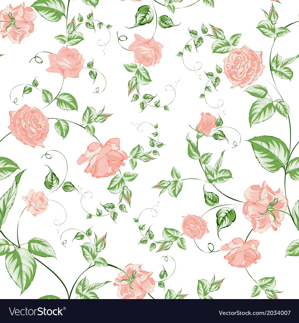 Seamless texture of beautiful roses for textiles vector | Price: 1 Credit (USD $1)