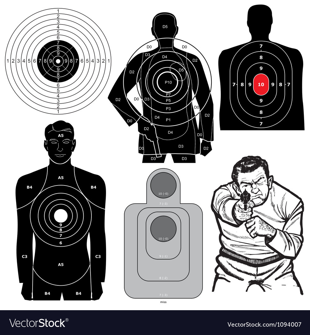 Set of 6 shooting targets vector