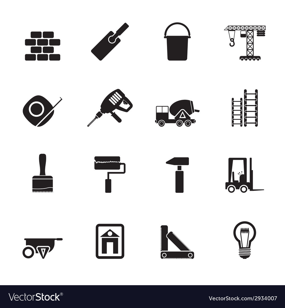 Silhouette construction and building icons vector | Price: 1 Credit (USD $1)