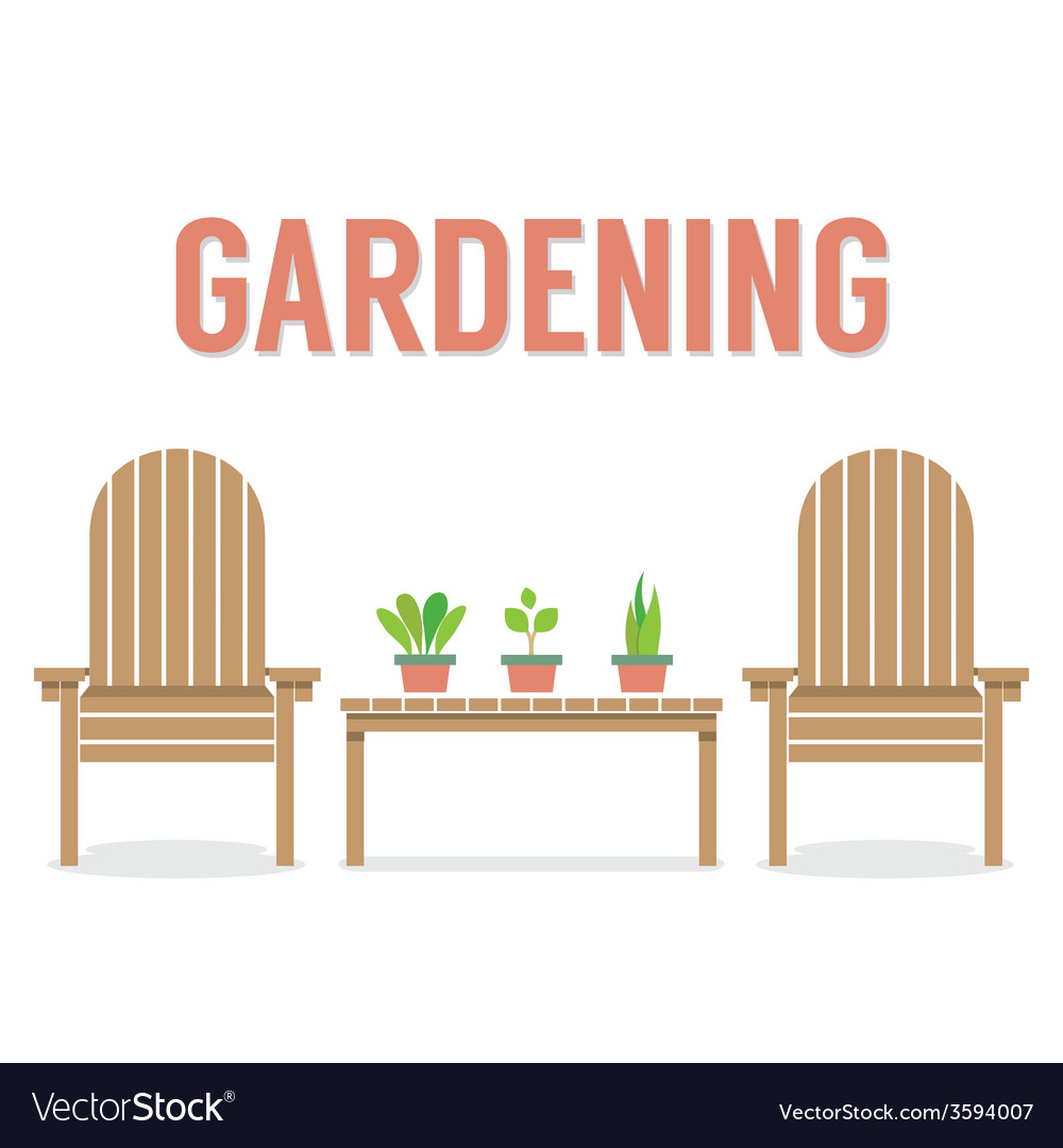 Wooden garden chairs and pot plant on table vector | Price: 1 Credit (USD $1)