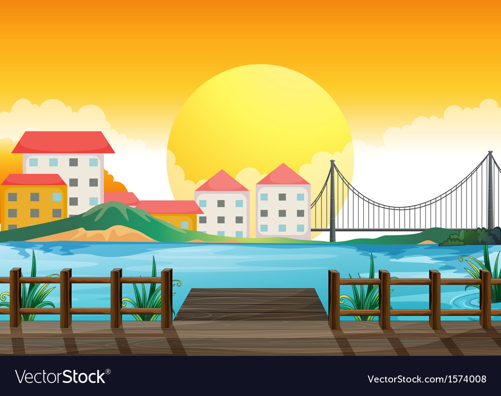 A wooden bridge across the tall buildings vector | Price: 3 Credit (USD $3)