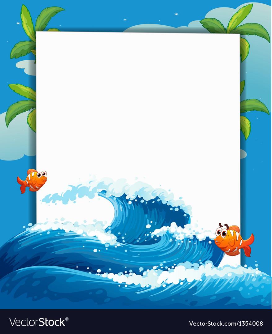 Big wave border frame vector | Price: 1 Credit (USD $1)