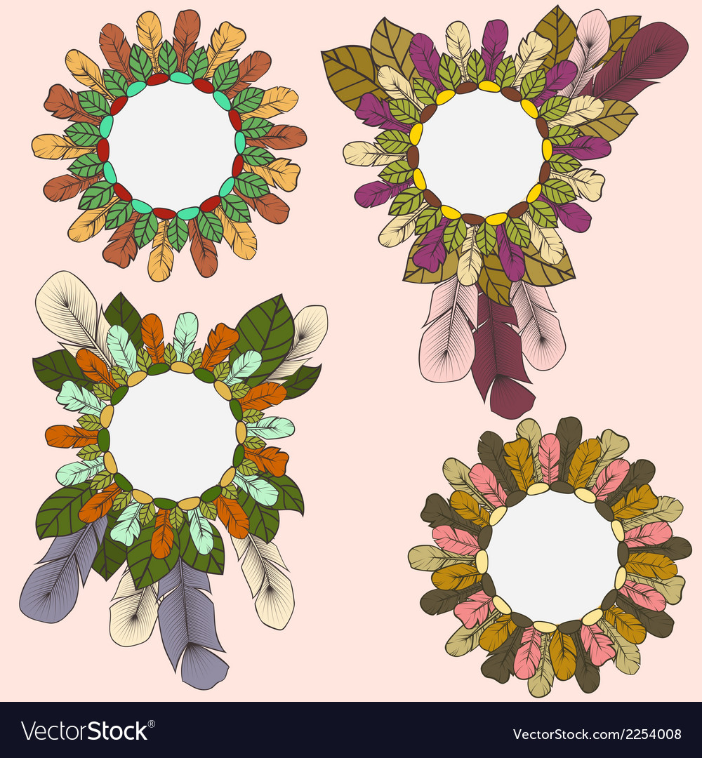 Collection of round frames of feathers and leaves vector | Price: 1 Credit (USD $1)
