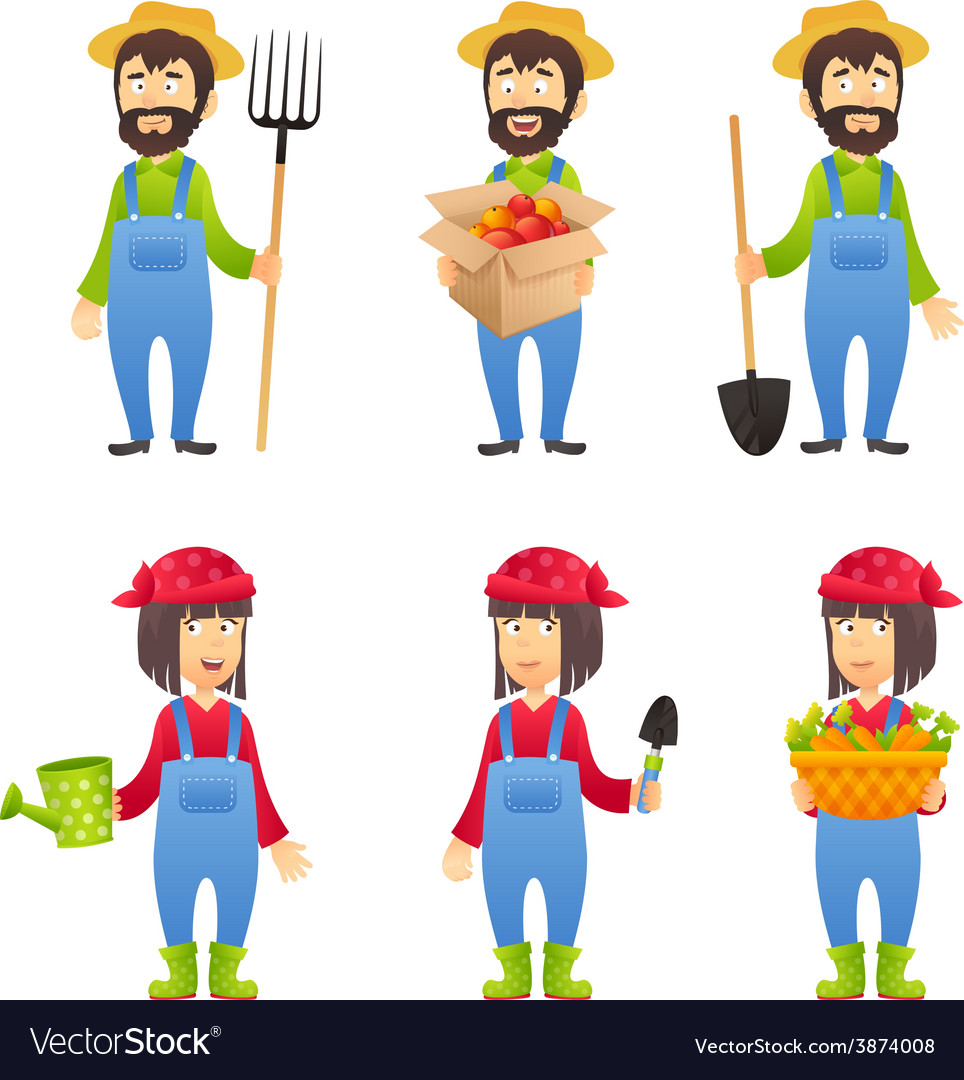 Farmer cartoon character vector | Price: 1 Credit (USD $1)