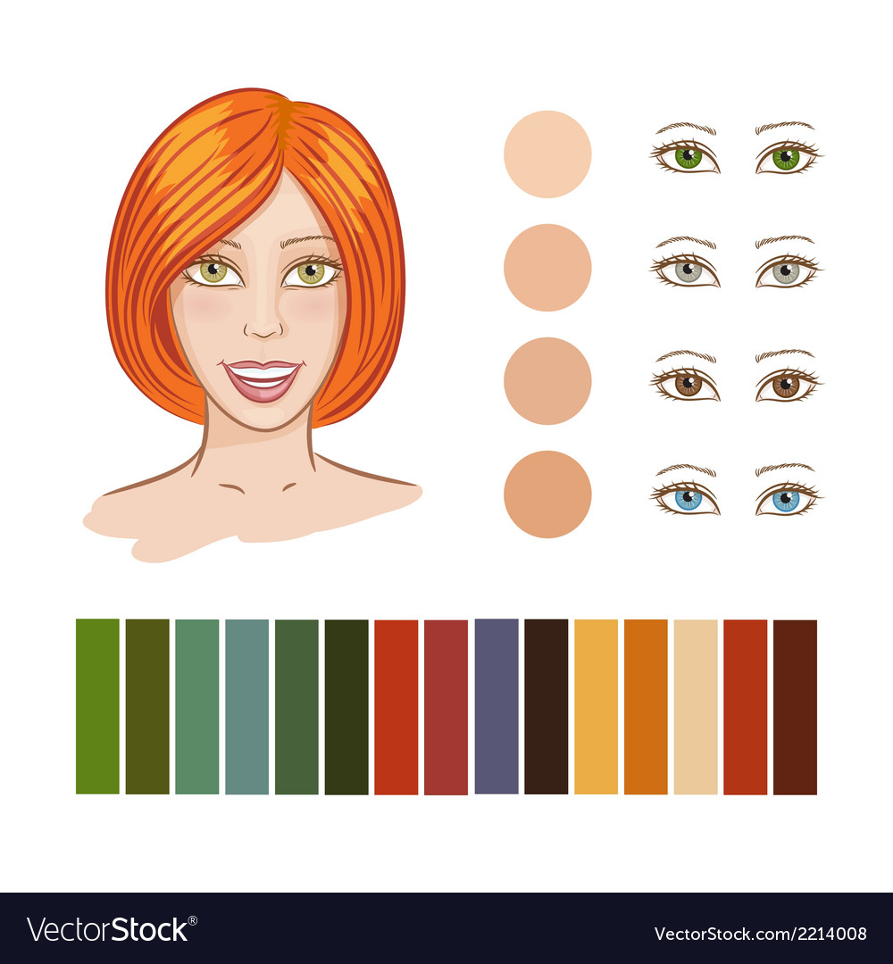 Girl autumn color type vector | Price: 1 Credit (USD $1)