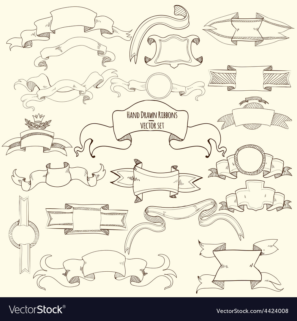 Hand drawn ribbons set vector | Price: 1 Credit (USD $1)