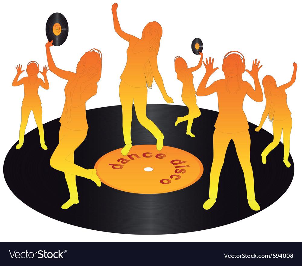 Orange dancing on vinyl vector | Price: 1 Credit (USD $1)