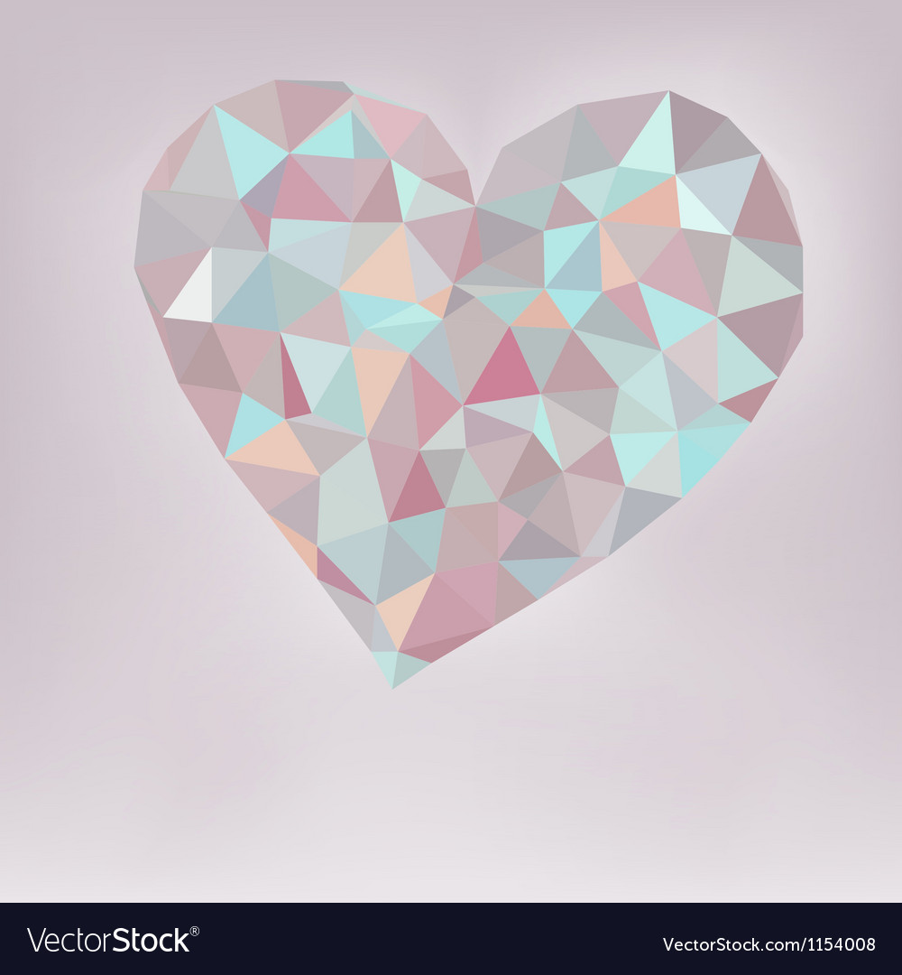 Retro heart made from color triangles  eps8 vector | Price: 1 Credit (USD $1)