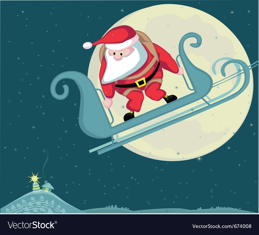 Santa with parachute in moon background separate l vector | Price: 1 Credit (USD $1)