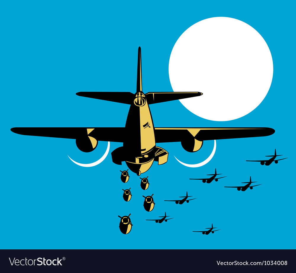 World war two bomber airplanes drop bomb retro vector   Price: 1 Credit (USD $1)