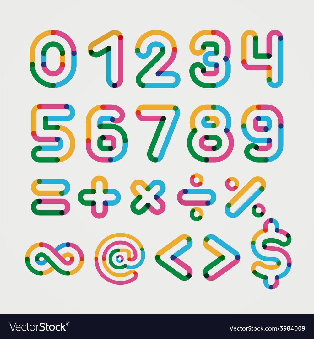 Alphabet line transparent color font style vector | Price: 1 Credit (USD $1)