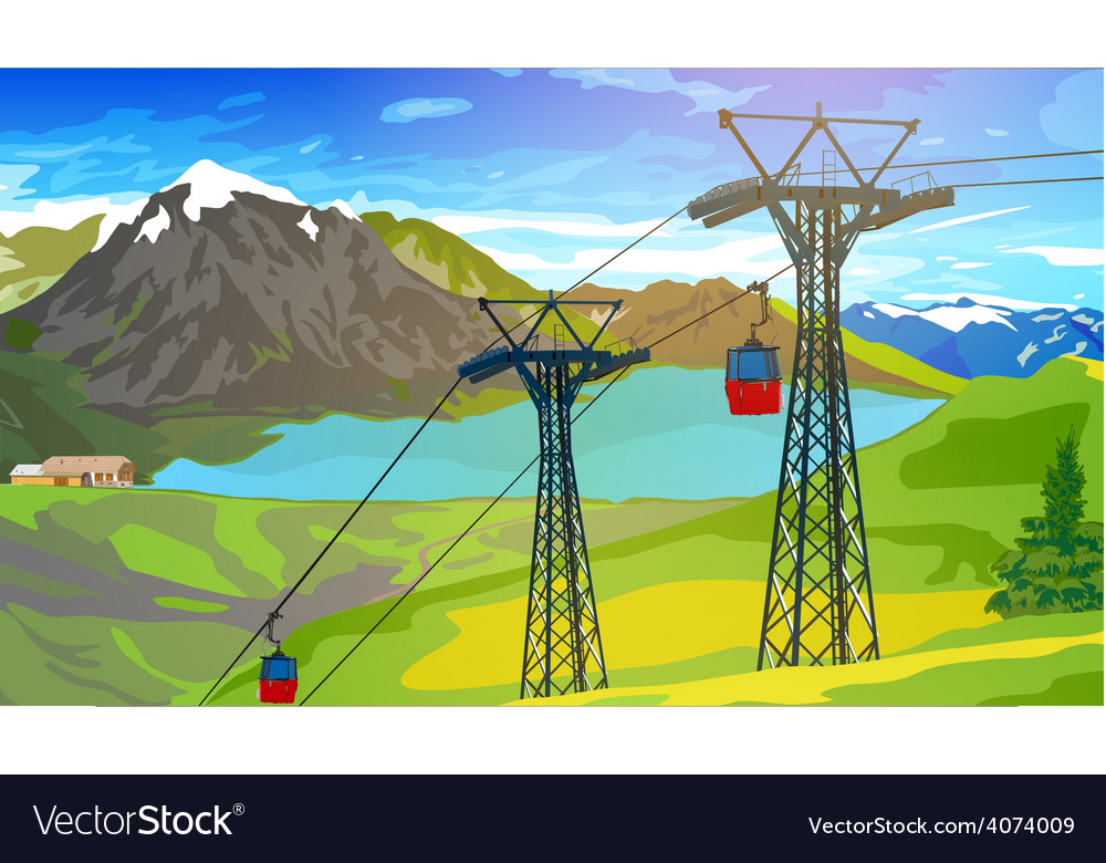 Cableway in alps vector | Price: 3 Credit (USD $3)