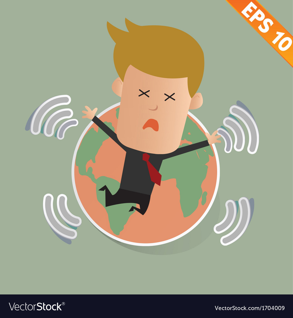 Cartoon businessman stand with earthquake - vector | Price: 1 Credit (USD $1)