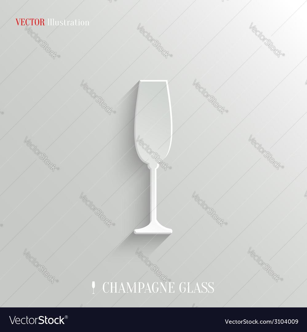 Champagne glass icon - white app button vector | Price: 1 Credit (USD $1)