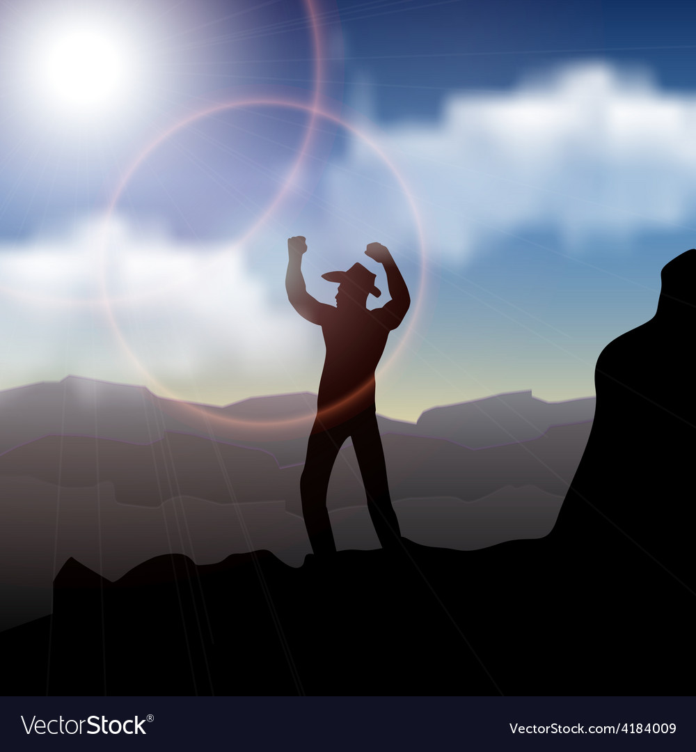 Hiker standing on top of a mountain and enjoying vector | Price: 1 Credit (USD $1)