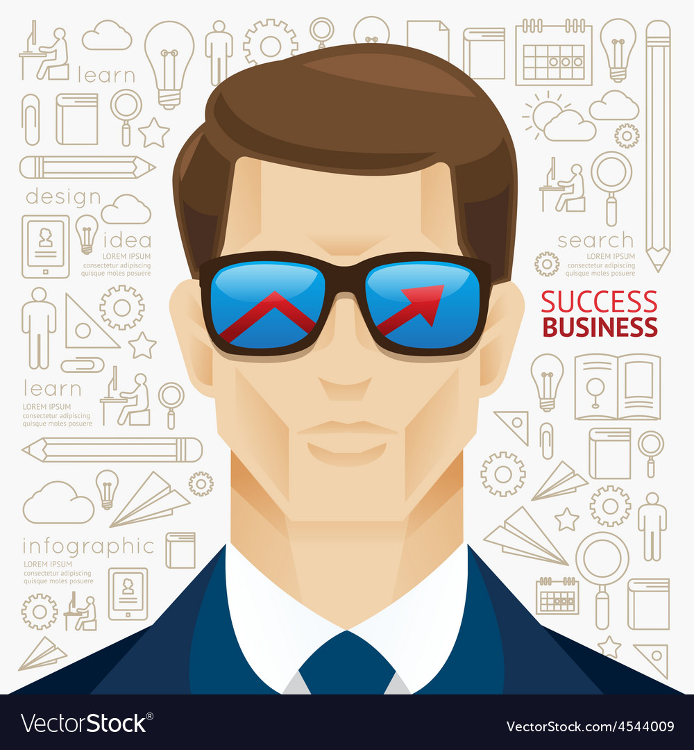 Infographic business man face arrow shape vector | Price: 1 Credit (USD $1)