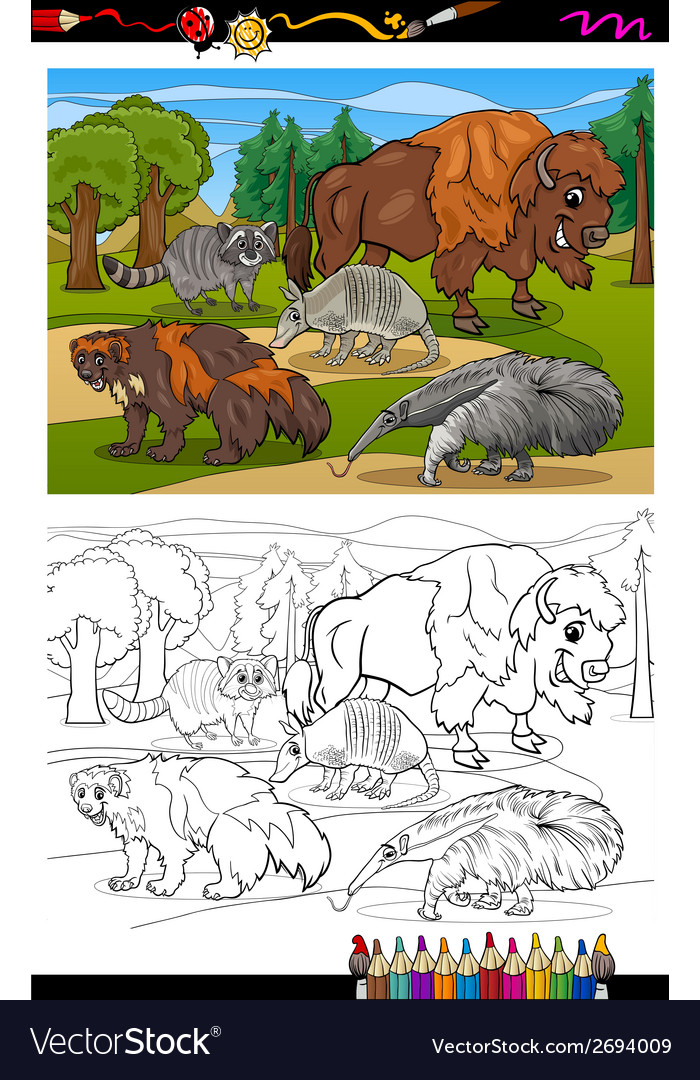 Mammals animals cartoon coloring book vector | Price: 1 Credit (USD $1)