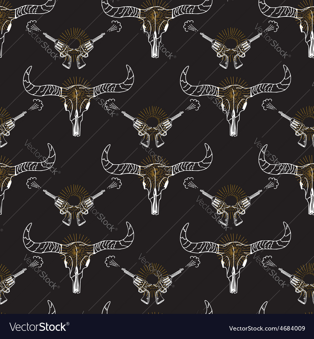 Seamless pattern background longhorn skull and vector