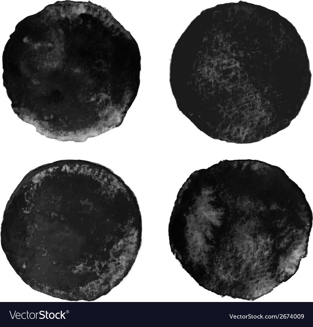 Set of black watercolor circular backgrounds vector | Price: 1 Credit (USD $1)