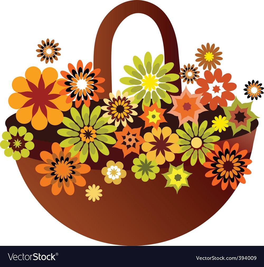 Vintage floral basket vector | Price: 1 Credit (USD $1)